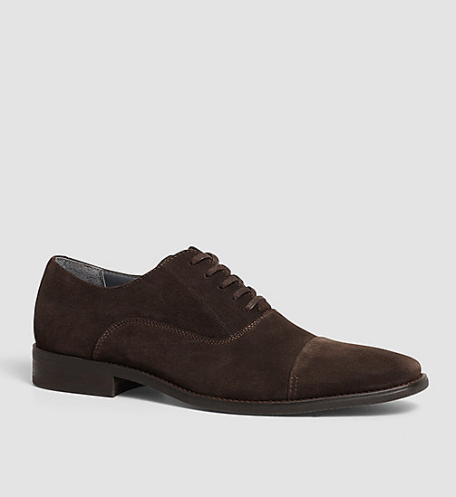 Suede Lace-Up Shoes - BLACK/DARK BROWN - CALVIN KLEIN SHOES & ACCESSORIES - main image