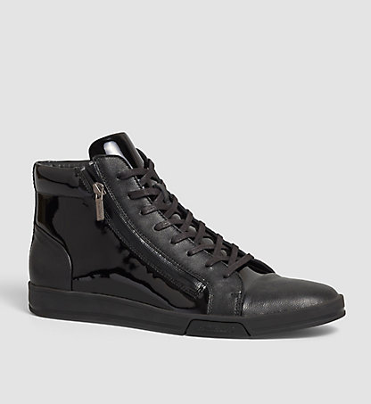 CALVIN KLEIN Leather High-Top Sneakers - Berke 00000F0753BLK