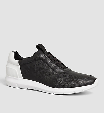 CALVIN KLEIN Leather Sneakers - Sherman 00000F0776BLK
