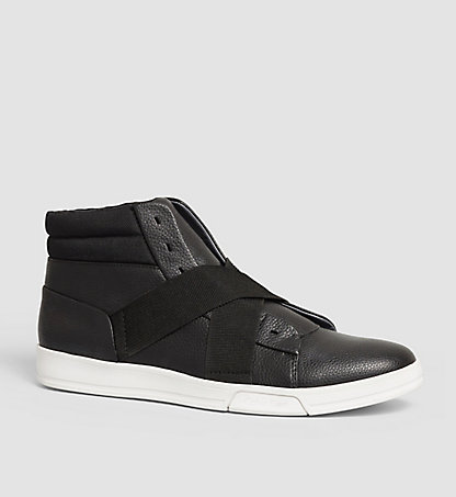 CALVIN KLEIN Leather High-Top Sneakers - Banjo 00000F0799BLK