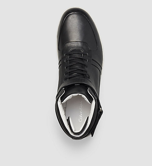 CALVINKLEIN Leather High-Top Sneakers - BLACK - CALVIN KLEIN TRAINERS - detail image 1