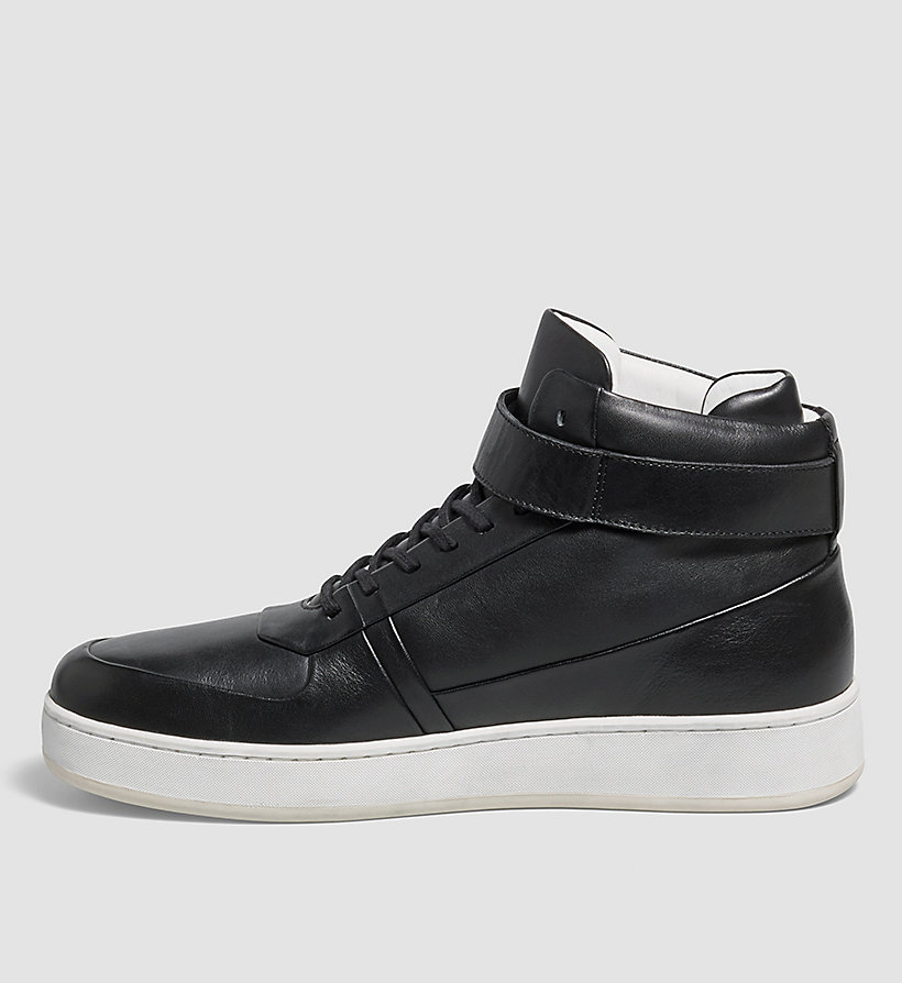 CALVINKLEIN Leather Sneakers - BLACK - CALVIN KLEIN SHOES & ACCESSORIES - detail image 2