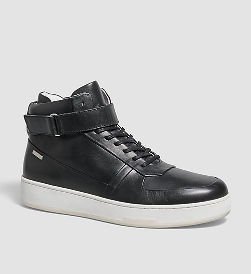 Leather High-Top Sneakers - BLACK - CALVIN KLEIN SHOES & ACCESSORIES - main image