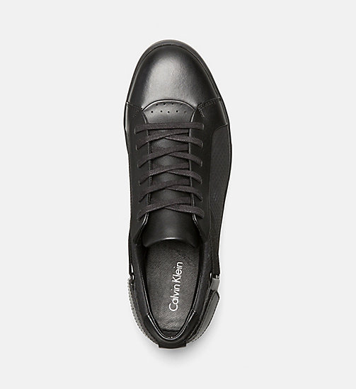 CALVINKLEIN Leather Sneakers - BLACK - CALVIN KLEIN SHOES & ACCESSORIES - detail image 1