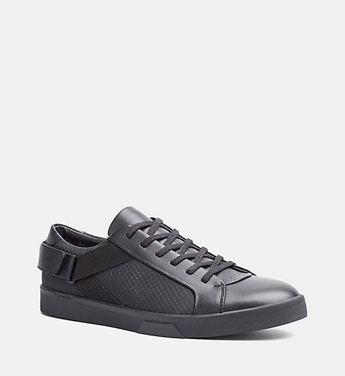 CALVINKLEIN Leather Sneakers - BLACK - CALVIN KLEIN SHOES & ACCESSORIES - main image