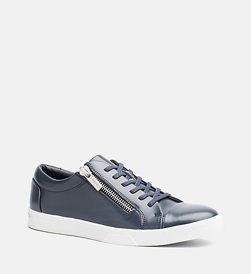 CALVINKLEIN Leather Sneakers - DARK NAVY - CALVIN KLEIN SHOES & ACCESSORIES - main image