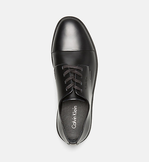 CALVINKLEIN Leather Lace-Up Shoes - BLACK - CALVIN KLEIN FLAT SHOES - detail image 1