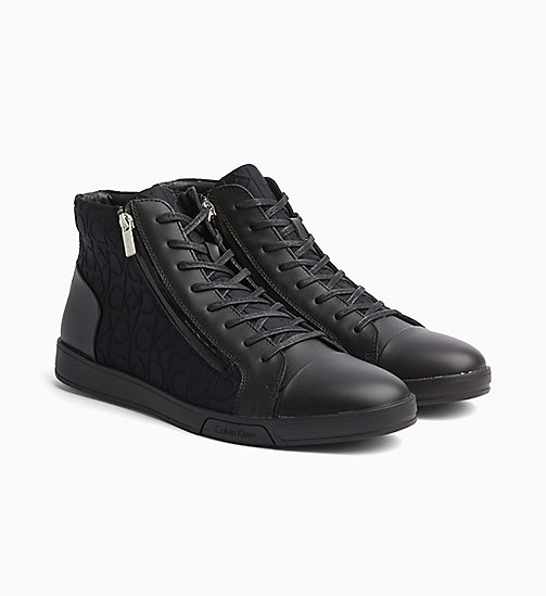 CALVINKLEIN Logo High-Top Sneakers - BLACK/BLACK - CALVIN KLEIN TRAINERS - detail image 1