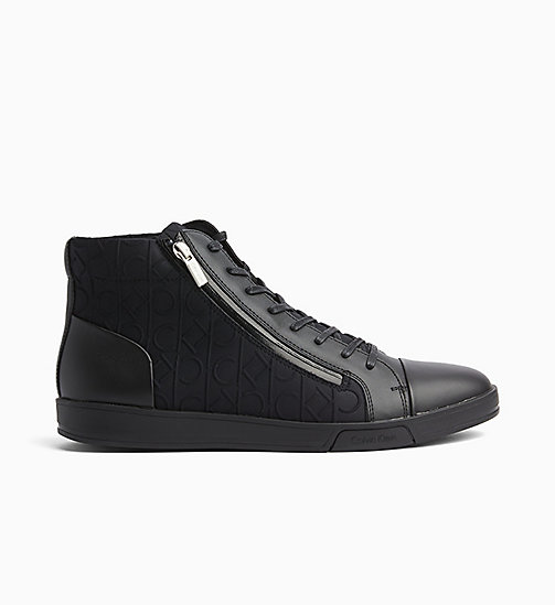 CALVINKLEIN Logo High-Top Sneakers - BLACK/BLACK - CALVIN KLEIN TRAINERS - main image