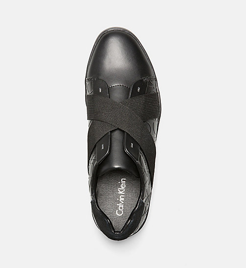 CALVINKLEIN Leather Slip-On Sneakers - BLACK/BLACK - CALVIN KLEIN SHOES & ACCESSORIES - detail image 1