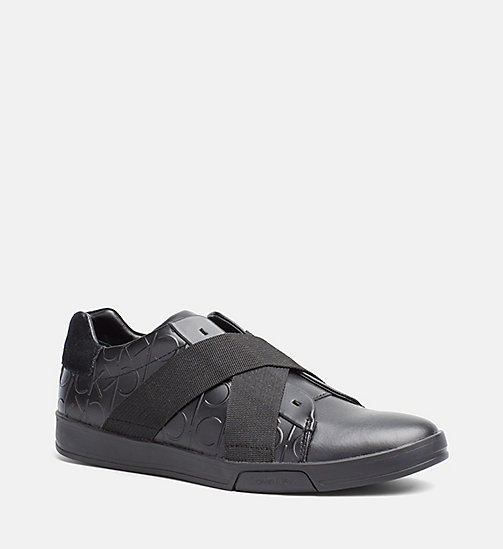 CALVINKLEIN Leather Slip-On Sneakers - BLACK/BLACK - CALVIN KLEIN SHOES & ACCESSORIES - main image
