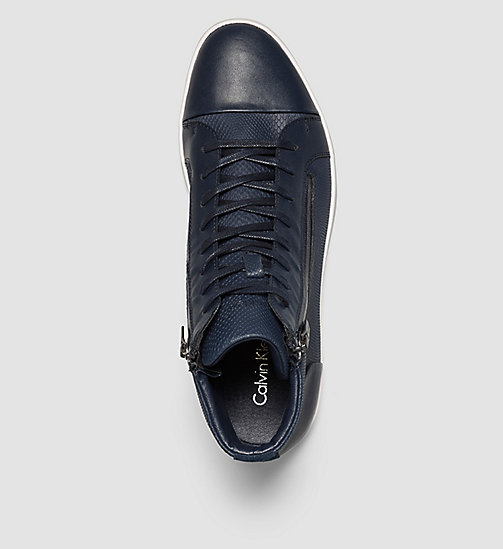 CALVINKLEIN Leather High-Top Sneakers - BLUE/DARK NAVY - CALVIN KLEIN TRAINERS - detail image 1