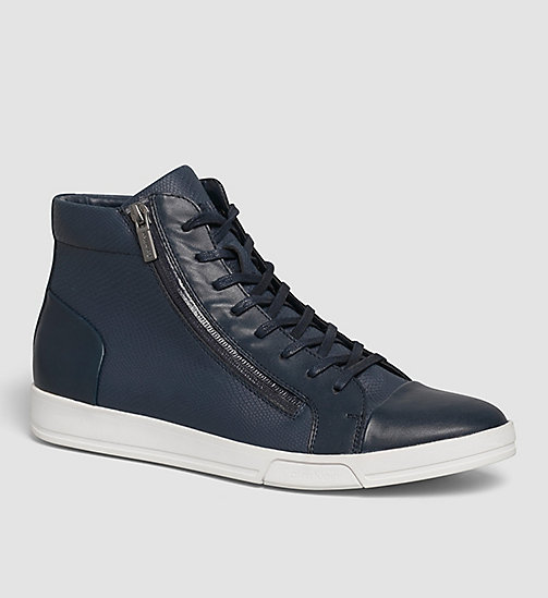 Leather High-Top Sneakers - BLUE/DARK NAVY - CALVIN KLEIN  - main image