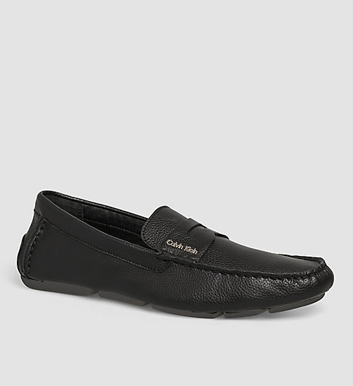 CALVINKLEIN Leather Loafers - BLACK/BLACK - CALVIN KLEIN SHOES - main image