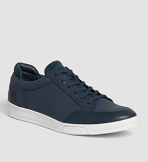 CALVINKLEIN Leather Sneakers - BLACK/DARK NAVY - CALVIN KLEIN VIP SALE MEN - main image