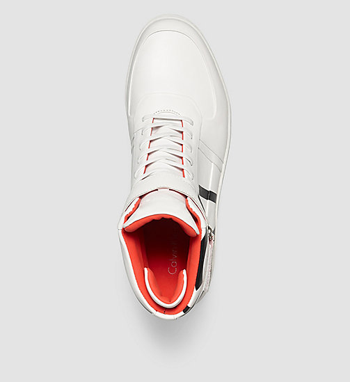 CALVINKLEIN Leather High-Top Sneakers - WHITE/WHITE - CALVIN KLEIN TRAINERS - detail image 1