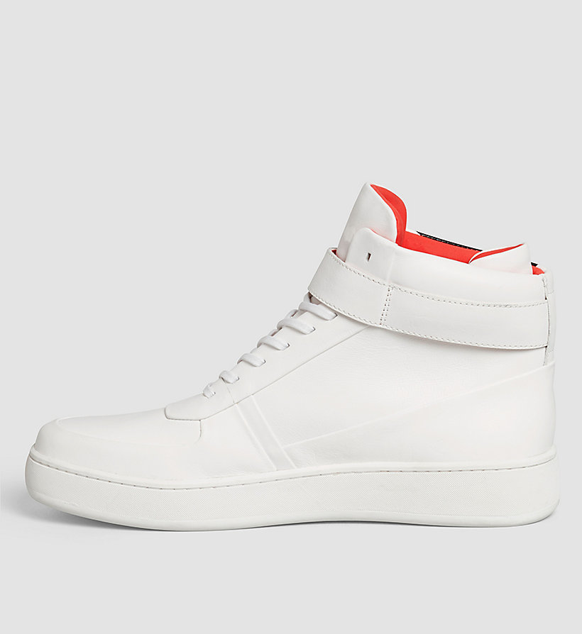 CALVINKLEIN Leather High-Top Sneakers - WHITE/WHITE - CALVIN KLEIN SHOES & ACCESSORIES - detail image 2