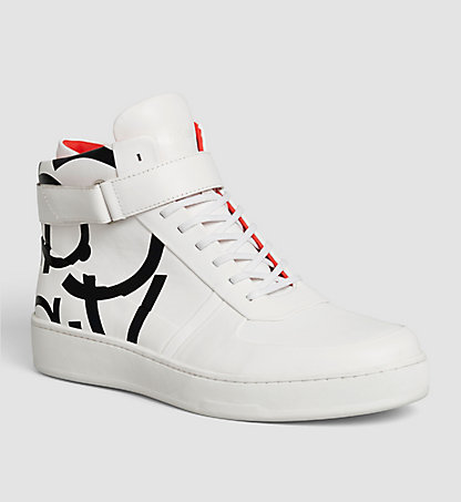CALVIN KLEIN Leather High-Top Sneakers 00000F1726WHT