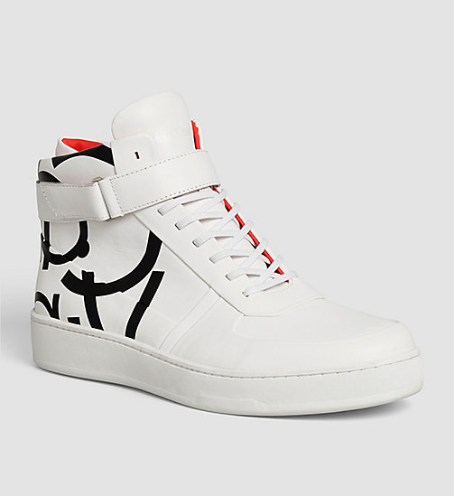 Leather High-Top Sneakers - WHITE / WHITE - CALVIN KLEIN SHOES & ACCESSORIES - main image