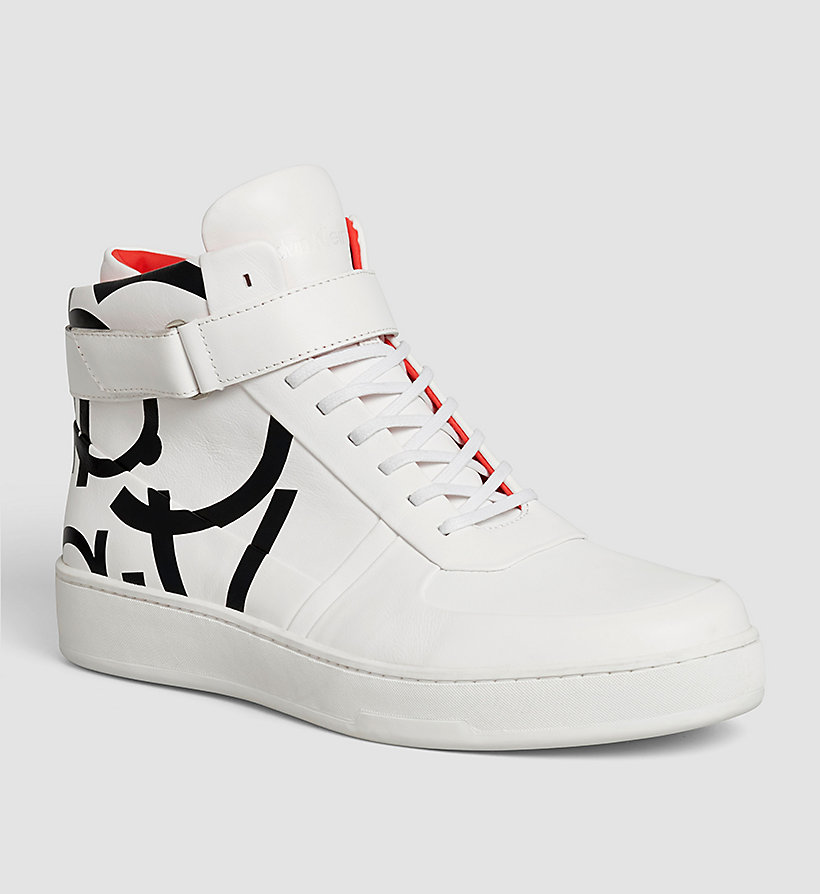 CALVINKLEIN Leather High-Top Sneakers - WHITE/WHITE - CALVIN KLEIN SHOES & ACCESSORIES - main image
