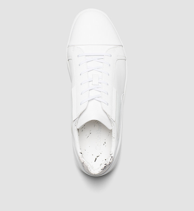 CALVINKLEIN Leather Sneakers - WHITE/WHITE - CALVIN KLEIN SHOES & ACCESSORIES - detail image 1