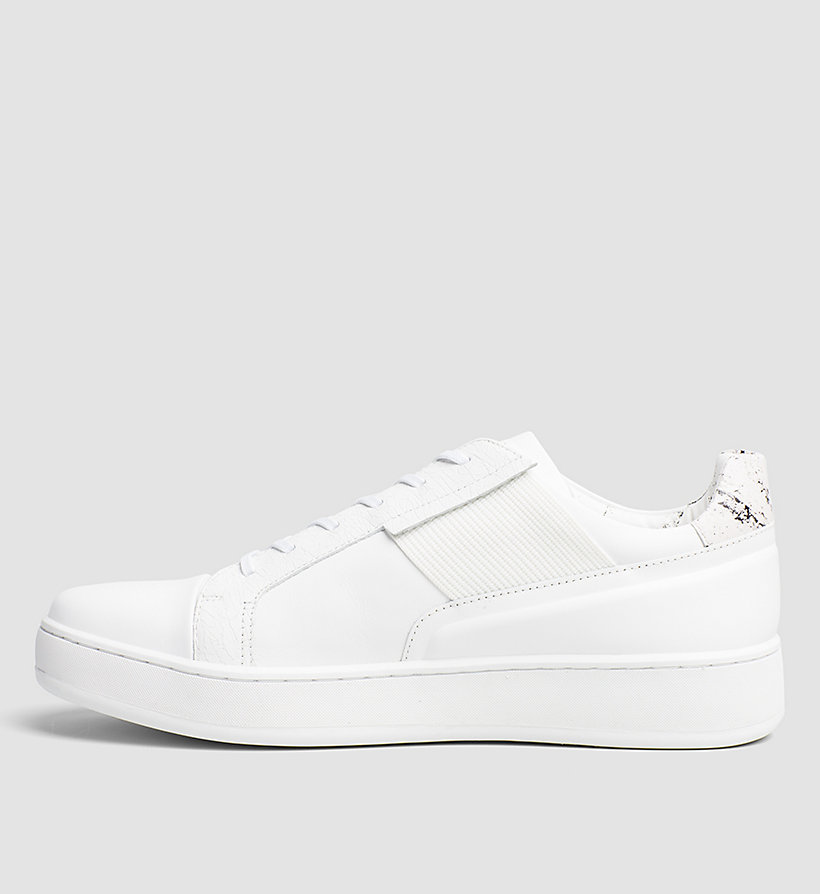 CALVINKLEIN Leather Sneakers - WHITE/WHITE - CALVIN KLEIN SHOES & ACCESSORIES - detail image 2