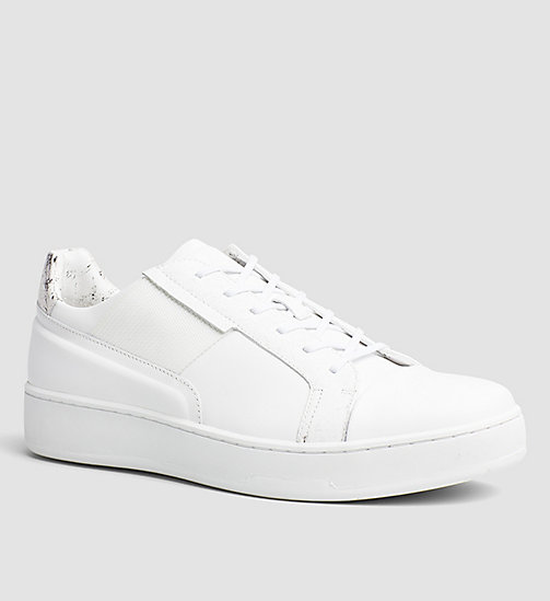 Leather Sneakers - WHITE / WHITE - CALVIN KLEIN SHOES & ACCESSORIES - main image