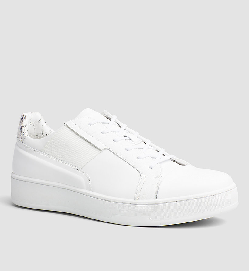 CALVINKLEIN Leather Sneakers - WHITE/WHITE - CALVIN KLEIN SHOES & ACCESSORIES - main image