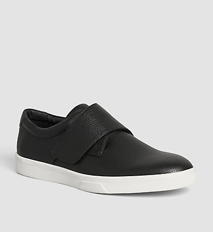 CALVIN KLEIN Leather Slip-On Shoes 00000F1776BLK