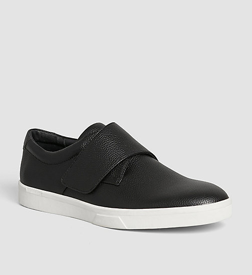 CALVINKLEIN Leather Slip-On Shoes - BLACK/BLACK - CALVIN KLEIN SHOES - main image