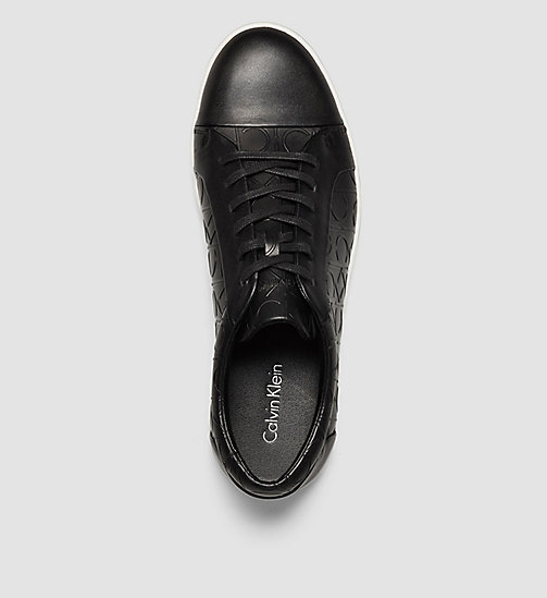 CALVINKLEIN Leather Sneakers - BLACK/BLACK - CALVIN KLEIN TRAINERS - detail image 1