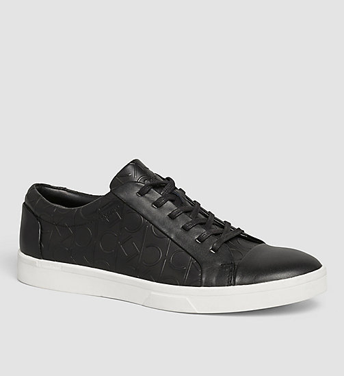 CALVINKLEIN Leather Sneakers - BLACK/BLACK - CALVIN KLEIN  - main image