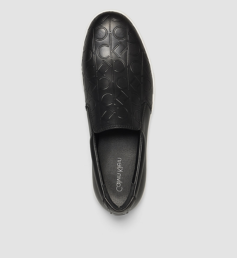 CALVINKLEIN Leather Slip-On Shoes - BLACK /  BLACK - CALVIN KLEIN SHOES & ACCESSORIES - detail image 1