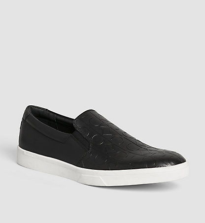 CALVIN KLEIN Leather Slip-On Shoes 00000F1779BLK
