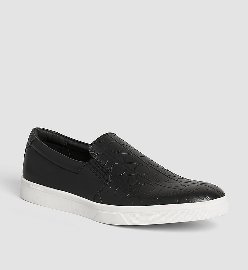 CALVINKLEIN Leather Slip-On Shoes - BLACK/BLACK - CALVIN KLEIN SHOES & ACCESSORIES - main image