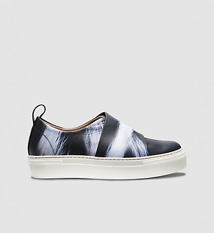 CALVIN KLEIN COLLECTION Skunk Print Calf Platform Sneakers 00000J0401BWY