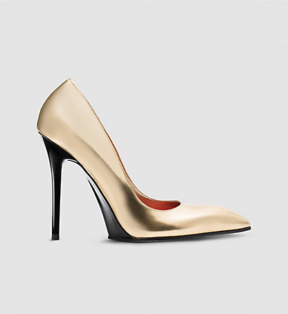 CALVIN KLEIN COLLECTION Leder-Stiletto in Metalloptik 00000J0419GLD