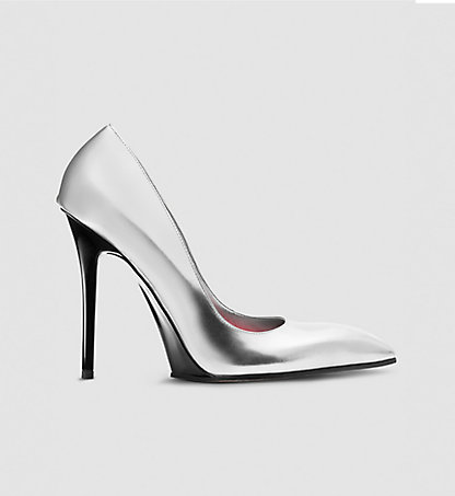 CALVIN KLEIN COLLECTION Leder-Stiletto in Metalloptik 00000J0419SLV