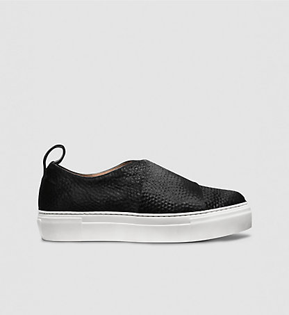 CALVIN KLEIN COLLECTION Plattform-Sneakers aus gehämmertem Fell-Kalbsleder 00000J0424BBK