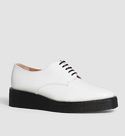 CALVIN KLEIN Leather Lace-Up Shoes 00000J0471WHT