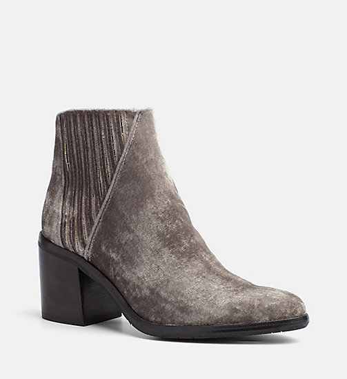 CALVIN KLEIN JEANS Velvet Zip Ankle Boots - SILVER - CALVIN KLEIN JEANS BOOTS - main image