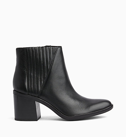 CALVIN KLEIN JEANS Leather Zip Ankle Boots - BLACK - CALVIN KLEIN JEANS BOOTS - main image