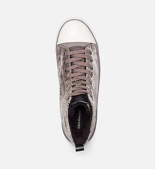 CALVIN KLEIN JEANS Velvet High-Top Sneakers - SILVER - CALVIN KLEIN JEANS TRAINERS - detail image 1