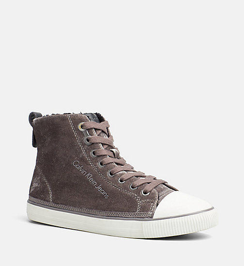CALVIN KLEIN JEANS Velvet High-Top Sneakers - SILVER - CALVIN KLEIN JEANS TRAINERS - main image
