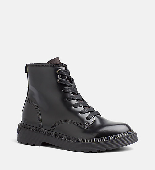 CALVIN KLEIN JEANS Leather Lace-Up Ankle Boots - BLACK - CALVIN KLEIN JEANS FLAT SHOES - main image