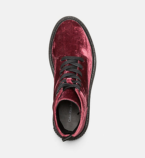 CALVIN KLEIN JEANS Velvet Lace-Up Ankle Boots - RED - CALVIN KLEIN JEANS FLAT SHOES - detail image 1