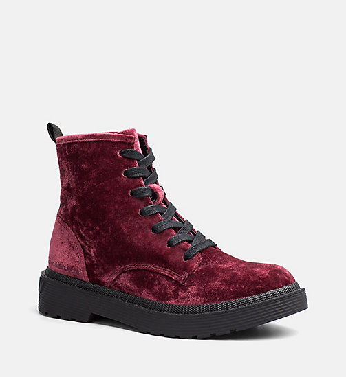 CALVIN KLEIN JEANS Velvet Lace-Up Ankle Boots - RED - CALVIN KLEIN JEANS FLAT SHOES - main image