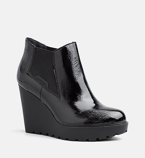 CALVIN KLEIN JEANS Patent Leather Ankle Boots - BLACK - CALVIN KLEIN JEANS ANKLE BOOTS - main image