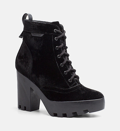 CALVIN KLEIN JEANS Velvet Lace-Up Ankle Boots - BLACK - CALVIN KLEIN JEANS FLAT SHOES - main image