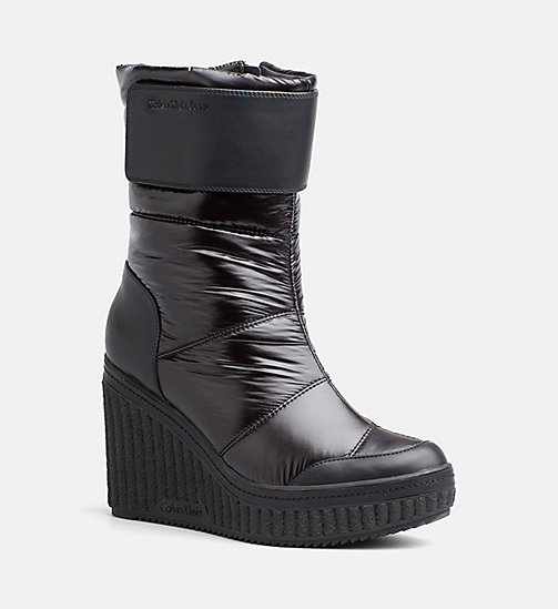CALVIN KLEIN JEANS Quilted Zip Ankle Boots - BLACK - CALVIN KLEIN JEANS BOOTS - main image